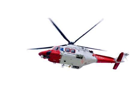 Coastal helicopter isolated on white.