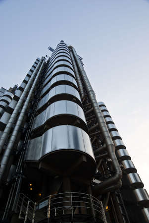 Lloyds towers against the blue sky in London