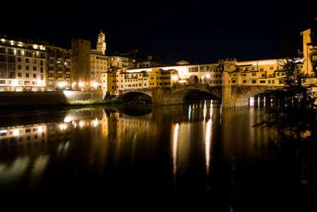 ponte: Ponte Vecchio in Florence at night. Stock Photo