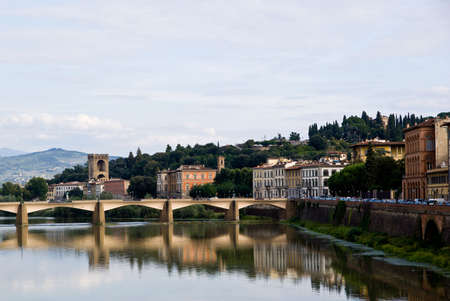 View of florence along the Arno River Stock Photo