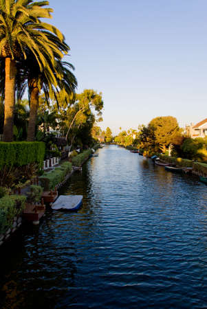 Venice Beach canals at sunset, Los Angeles, California. photo