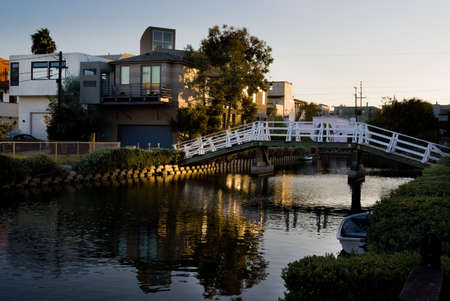 canal house: Venice Beach canals at sunset, Los Angeles, California. Stock Photo