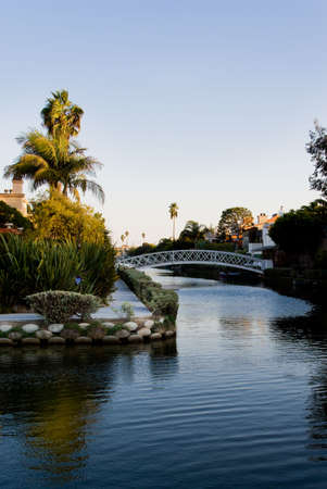 Venice Beach canals at sunset, Los Angeles, California. Stock Photo