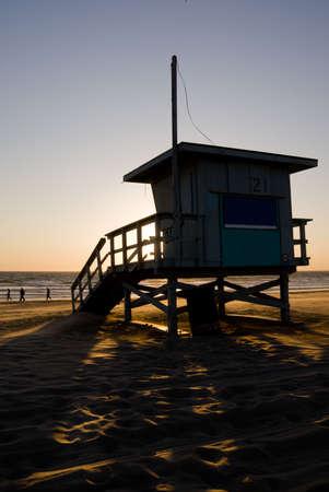 Lifeguard cabin in Venice Beach at sunset. Stock Photo - 3801469