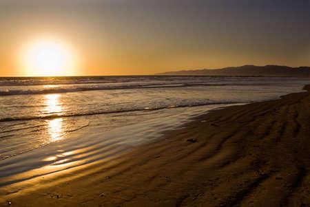 Coucher de soleil � Venice Beach, Californie, USA Banque d'images