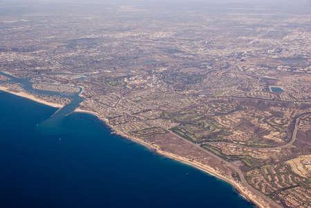 Aerial view of Orange County and Laguna Beach, California, USA
