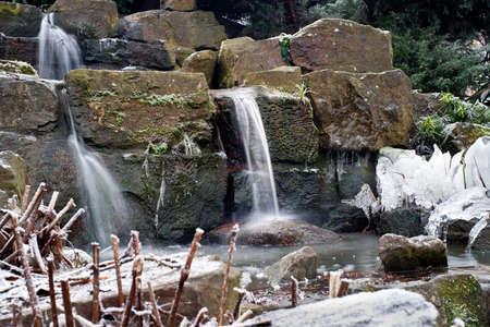 Waterfall freezing in winter. England.