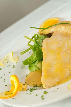 Pollo agli agrumi. Italian chicken with orange sauce.