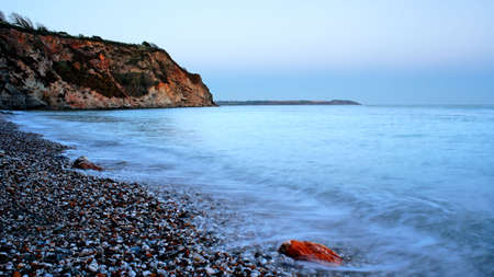 St. Austell beach at dusk in Cornwall, England. Stock Photo