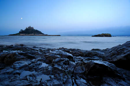 St. Michaels Mount at dusk in Cornwall, England.