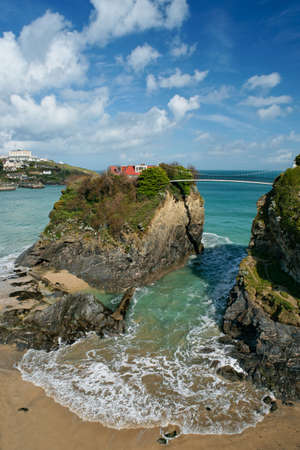 House on the cliff in Newquay, Cornwall. Stock Photo
