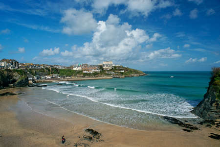 View of Newquay beach in Cornwall, England. Stock Photo