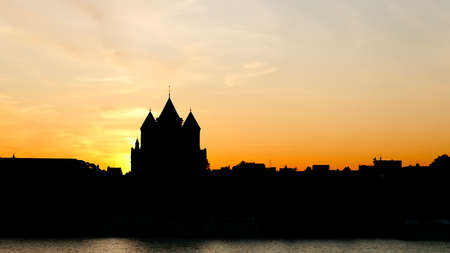 Cologne view at sunset. Silhouette. Stock Photo