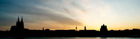 Cologne sunset panorama. Back lit.