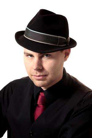 Attractive jeune homme avec chapeau T�te Banque d'images