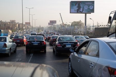 heliopolis: Cairo, Egypt - March 3, 2015: Heavy traffic on El-Orouba Street, one of the main roads leading to the Cairo International Airport
