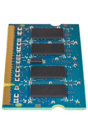 dimm: RAM memory isolated on white, shallow depth of field Stock Photo