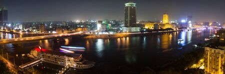 nile river: Panoramic view of Cairo from the island of Zamalek, the Nile river, the Corniche street and the city