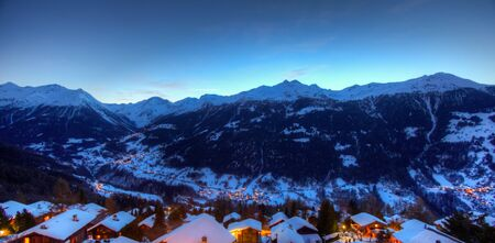 valais: Panoramic view of the Val dAnniviers at dusk, view from the village of St Luc, Canton of Valais, Switzerland