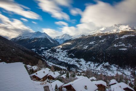 valais: The val dAnniviers, view from the village of St Luc, canton of Valais, Switzerland, long exposure Stock Photo