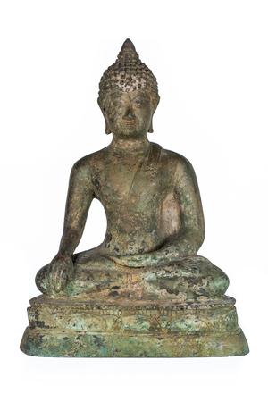 oxidation: Old Buddha bronze isolated on white background