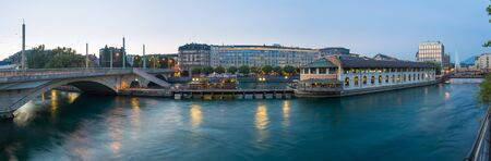 geneva: Panoramic of Geneva downtown at dusk Stock Photo