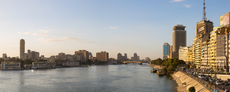 nile river: Cairo, Egypt - March 4, 2016: Central Cairo panoramic view, the Corniche Street, the Nile river and the Island of Zamalek.