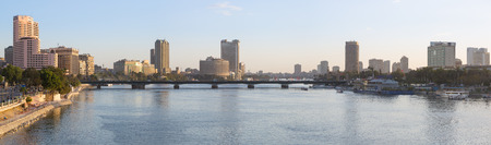 nile river: Cairo, Egypt - March 4, 2016: Panoramic view of central Cairo, the Nile river, the Kasr El Nile bridge and the Island of Zamalek. Editorial