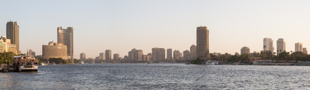 nile river: Cairo, Egypt - May 26, 2016: Panoramic view of central Cairo at dusk, the Nile river and the Island of Zamalek.
