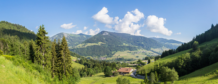 Panoramic view of french alps near Megeve during summertime.