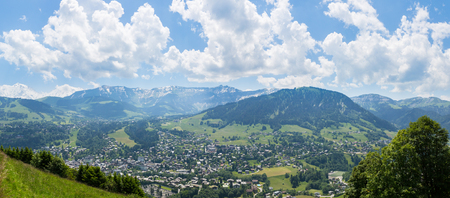 Wide angle view of the french village of Megeve and surroundings. Stock Photo