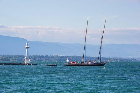 Geneva, Switzerland - July 15, 2016: The century old Neptune boat leaving the city of Geneva, Switzerland. Editorial