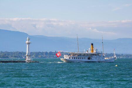 Geneva, Switzerland - July 15, 2016: The Savoie passenger steamboat leaving the city of Geneva, Switzerland. Editorial