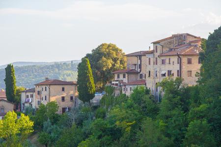 The city of San Giminiano at dusk, Tuscany, Italy. Stock Photo