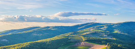 Panoramic landscape of surroundings of the village of Radda in Chianti, Tuscany, Italy. Stock Photo