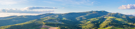 Wide panoramic landscape of surroundings of the village of Radda in Chianti, Tuscany, Italy.