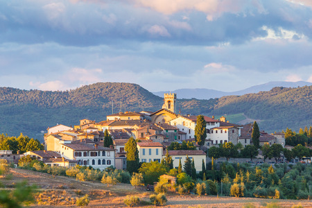 The village of Radda in Chianti at sunset, province of Siena, Tuscany, Italy. Stock Photo - 63710873