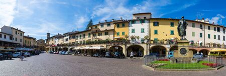 Greve in Chianti, Italy - August 2, 2016: The Piazza Giacomo Matteotti in the city of Greve in Chianti, Tuscany, Italy.
