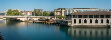 Panoramic, long exposure,  morning view of Geneva city center.