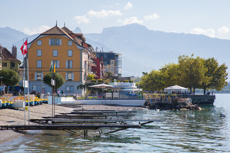 Vevey, Switzerland - September 25, 2016: The lakeside of the city of Vevey, a small city on the shores of lake Geneva.
