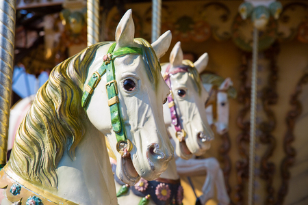 Close Up Of Horses Heads On A Merry Go Round