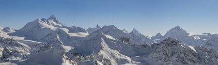 Panoramic view of the Swiss alps from the Bella Tola peak. Stock Photo