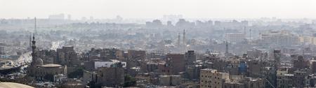 Panoramic view of Cairo skyline from the Mokkatam hill. Stock Photo