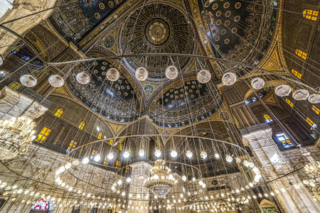 Cairo, Egypt - March 9, 2017: Interior of the Mohamed Ali mosque, located in the Saladin Citadel on the Mokkatam hill in Cairo. Editorial