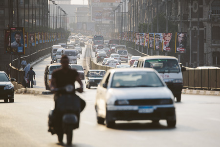 Cairo, Egypt - June 11, 2015: the 15th May bridge at rush hour, an overpass crossing the island of Zamalek in central Cairo.