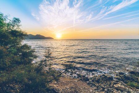 Sunrise over the mediterranean sea on the Spanish island of Mallorca.