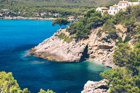 The blue waters of the mediterranean sea near Canyamel on the balearic island of Mallorca.