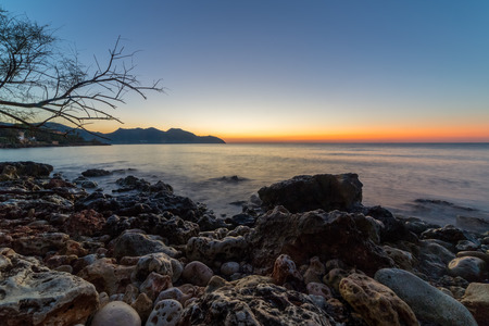 The mediterranean sea on the Spanish island of Mallorca at dawn.