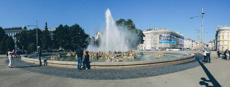 Vienna, Austria - September 30, 2017: Panoramic view of the water fountain on Schwarzenbergplatz in Vienna. Editorial