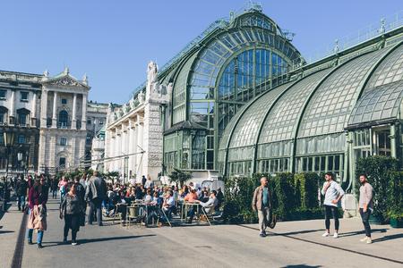 Vienna, Austria - September 30, 2017: The popular Palmenhaus restaurant, overlooking the Burggarten Park in Vienna city center.